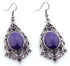 EA109 Tibetan silver exquisite PURPLE crystal drop earing with hook style - suitable only to piercings. Normally retails for around $25 each - my selling price (including postage within Australia) is $15.00 each... Please feel free to contact me if your require price for postage overseas…