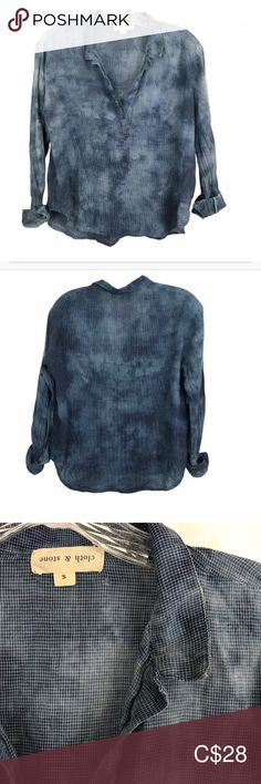 CLOTH AND STONE HENLEY BUTTON BLOUSE ACID WASH SM This brand is a known anthropologie brand. There is a small pin hole as shown and tag is upside down - no idea why.  Priced as such.  Measurements are approximate and in inches  Pit to Pit 21 Length 23  🌟Top Rated Seller 💌 All items shipped in 48hrs 🛍 All Reasonable offers accepted cloth & stone Tops Button Down Shirts Anthropologie Brands, Pin Hole, Plus Fashion, Fashion Tips, Fashion Trends, Top Rated, Button Down Shirt, Clothes For Women, Stone