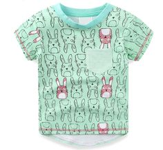 Baby Boys Cute Rabbit Full Printed T-shirt Toddlers Cartoon Pocket Tees Infant Green Short Sleeve Children Brand Clothes #Affiliate