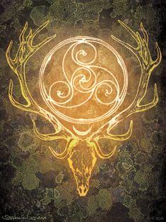 lindentea: Stag Lord Herne Cernunnos Celtic Spiral Print by nethersphere