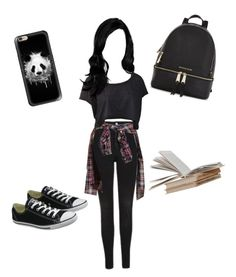 """""""Untitled #268"""" by vgrenalde ❤ liked on Polyvore featuring Topshop, Refuge, Converse, Casetify and Michael Kors"""