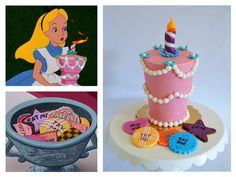 alice in wonderland 'unbirthday cake'. smash cake with fondant 'try me' faux cookies