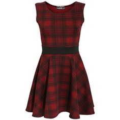 NOLA TARTAN CHECK SKATER DRESS IN WINE RED (80 BRL) ❤ liked on Polyvore featuring dresses, vestidos, skater dress, sleeveless dress, scoop neck dress, red dress and tartan dress