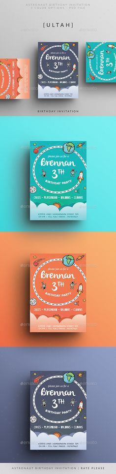 Awesome Astronaut Birthday Invitation PSD Template • Only available here ➝ http://graphicriver.net/item/astronaut-birthday-invitation/16342123?ref=pxcr