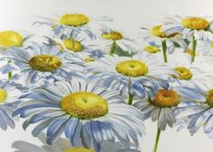 Step 4 of white daisies watercolor painting demonstration