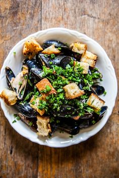 Beer-Steamed Mussels with Mustard, Créme Fraiche, Parmesan Croutons & Tons of Herbs | Elizabeth Winslow for Camille Styles