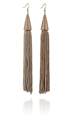Taupe Pave Silk Cone Tassel Earring by Eddie Borgo - Moda Operandi