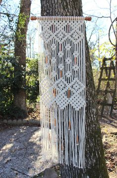 Etsy の Large Macrame Wall Hanging with copper beads by Jonatis