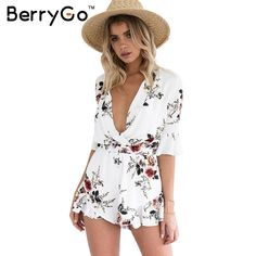 e2838935ce4d63 BerryGo Elegant v neck print chiffon jumpsuit romper Elastic waist half  sleeve beach overalls women Sexy streetwear playsuits-in Rompers from  Women s ...