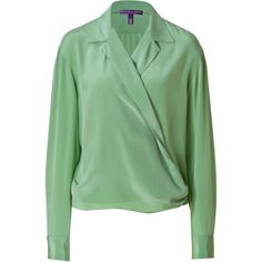 Ralph Lauren Collection - Pistachio Washed Crepe De Chine Wrap Top ($358) ❤ liked on Polyvore featuring tops, blouses, shirts, green, evening tops, women, green long sleeve shirt, shirts & blouses, evening blouses and draped blouse