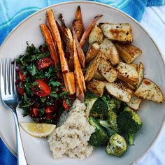 tomato salad, quinoa (subst. brown rice), sweet potatoes, roasted potatoes, broccoli.
