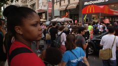 Fast Food Workers on Strike in New York City. The wave of protests began Monday, July 29, 2013, in New York City, where workers earning as l...
