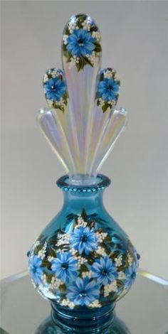 Fenton Perfume Bottle Turq IRID Stopper Mums Swarovski OOAK Free USA Shipping | eBay..❤❥