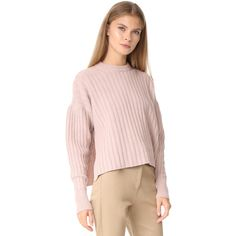 Shop Nude Round Neck Sweater in Powder at Modalist | M0005000272877 ($233) ❤ liked on Polyvore featuring tops, sweaters, round neck sweater, pink sweater, pink top and round neck top