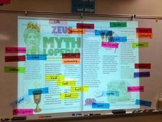 Text features ~ using colored magnets on a projected article to identify text features.