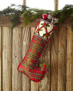 H7Y20 MacKenzie-Childs Tartan Yuletide Noel Christmas Stocking
