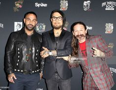 Chris Nunez, Dave Navarro and Oliver Peck arrive at the 100th Episode party for 'Ink Master' held at NeueHouse Hollywood on September 28, 2016 in Los Angeles, California.