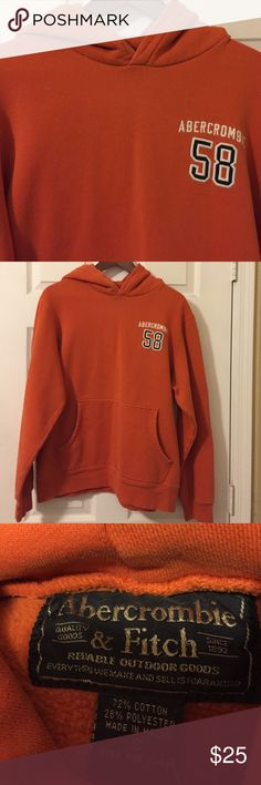 Abercrombie Orange Hoodie Woman or Men's Hoodie. Heavy sweatshirt with front pocket and nothing on back. Last photo shows very small hole not noticeable at all. Abercrombie & Fitch Tops Sweatshirts & Hoodies