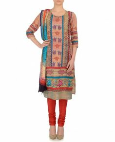 Beige Suit with Kantha Embroidery