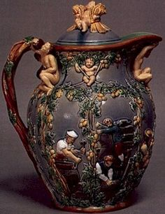 Aesthetic Movement decorative vase Decorating Vases, Vases Decor, Art Decor, Glazes For Pottery, Ceramic Pottery, Ceramic Pitcher, Aesthetic Movement, Porcelain Clay, Pottery Making