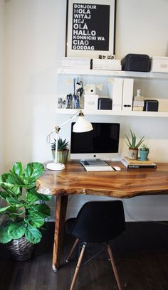 The desk is a special piece locally made after selecting black walnut slabs dried for five years from a nearby farm. I look forward to seeing how the wood matures and naturally wears. Rebecca Hepburn Vancouver, Canada Home Office Mesa Home Office, Home Office Space, Home Office Design, Home Office Decor, Office Spaces, Office Designs, Work Spaces, Desk Office, Small Office