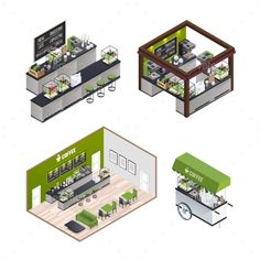Buy Isometric Coffee Shops Set by macrovector on GraphicRiver. Isometric coffee shop isolated indoor interior compositions set with coffee house room mobile cafe street cart vector. Cafe Interior Design, Cafe Design, Store Design, My Coffee Shop, Coffee Shop Design, Coffee Shops, Cafe Floor Plan, Mobile Cafe, Isometric Design