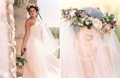 Flower crown over a veil <3