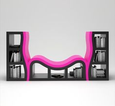Black and Hot Pink Console Bookshelf Nook... I need this!