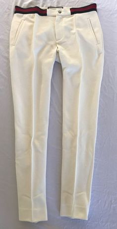 ~ GUCCI IVORY TROUSERS / PANTS W/ SIGNATURE RED GUCCI STRIPE  (FLAWLESS!)~ S #GUCCI #PANTS