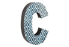 Letter C, Navy Greek Key on OneKingsLane.com