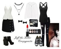 """""""Jeff the Killer-Creepypasta"""" by melcarr91 ❤ liked on Polyvore featuring Miss Selfridge, Doublju, True Religion, Converse, Chicwish, Christian Dior, MAC Cosmetics, Witchery, Forever 21 and Marc by Marc Jacobs"""