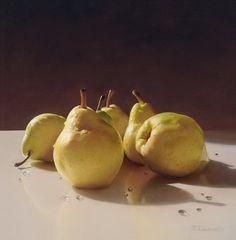 Still Life with Asian Pears - Tatyana Klevenskiy - oil on canvas Still Life Photos, Still Life Art, Still Life Photography, Food Photography, Hyperrealism Paintings, Oil Paintings, Still Life Oil Painting, Virtual Art, Fruit Art