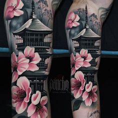 Pagoda tattoo by a d pancho tattoo designs sleeve sketches art 20 best ideas tattoo Japanese Temple Tattoo, Japanese Tattoo Women, Japanese Tattoo Symbols, Japanese Tattoo Art, Japanese Tattoo Designs, Japanese Sleeve Tattoos, Full Sleeve Tattoos, Japanese Forearm Tattoo, Irezumi Tattoos