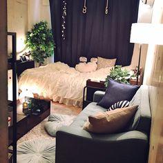 momoLさんの、間接照明,照明,6畳,一人暮らし,1K,コンクリート打ちっ放し,部屋全体,のお部屋写真