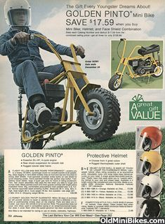 Golden Pinto from J.C. Penney Catalog... that's where I spent my days dreaming of getting a mini bike or a go kart. But we were poor... so dreaming had to do...