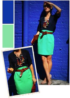 Ocean colors! I am in need of a twisty leather belt like that. Love it.