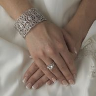 Vintage Inspired Ornate Rhodium CZ Bridal Cuff Bracelet B8349