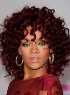 Long Naturally Curly Hairstyles | Rihanna Curly, Funky, Red Hairstyle - Beauty Riot