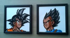 Goku and Vegeta Framed bead sprites by PixelBeadPictures