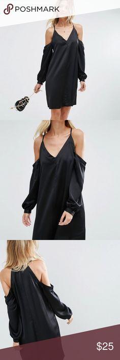 ASOS cold shoulder dress black Smooth satin Size 4 Plunge neck Cold-shoulder design Zip-back fastening Relaxed fit Machine wash 100% Polyester ASOS Dresses Midi