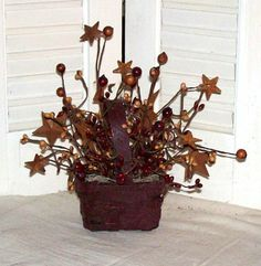 Small Grubby Burgundy Basket full of Berries and Stars-Country Decor,Country Primitive Decor,Basket of Berries,Stars,grubby Basket,Primitive...