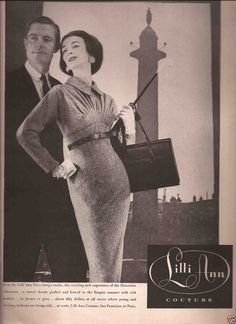 """1956 Lilli Ann Dress advertisement for """"Lilli Ann Couture""""---from the Lilli Ann Paris design studio, the exciting new expression of the Directoire silhouette… a tweed sheath and girdled and bowed in the Empire manner with rich heather, in brown or grey, about fifty dollars"""