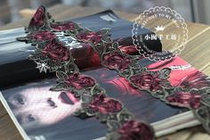 7.5 meters wide and 5 yards / lot embroidered tulle lace trim black lace mesh dress handmade Green + Claret-in Lace from Home & Garden on Aliexpress.com | Alibaba Group
