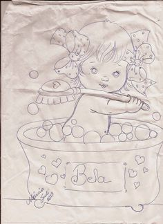 Fabric painting, screen painting, Risk and drawings to paint and crafts Baby Clip Art, Baby Art, Tole Painting, Fabric Painting, Free Coloring Pages, Coloring Books, Baby Motiv, Candy Drawing, Doll Face Paint
