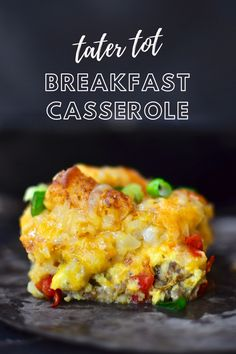 This Tater Tot Breakfast Casserole Has Super Creamy Eggs, Bacon And 2 Kinds Of Cheese! It's Easy To Make Ahead Of Time And Is Perfectly Freezer-friendly!. Ham Casserole, Crescent Roll Breakfast Casserole, Breakfast Casserole Sausage, Casserole Recipes, Breakfast For A Crowd, Breakfast Recipes, Breakfast Bake, Overnight Crockpot Breakfast, Cooking Recipes
