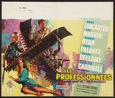 The Professionals with Burt Lancaster, Lee Marvin and Claudia Cardinale. Belgian movie poster. Art by RAY (Raymond Elseviers)