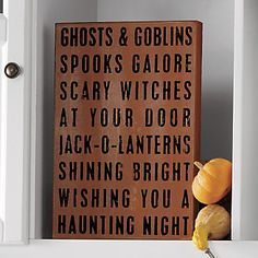 All Hallows' Evening Halloween Sign | Ghosts and Goblins and Spooks? Oh, my! http://www.countrydoor.com/All-Hallows-Evening-Sign.pro?omSource=SLI