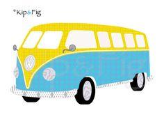 Camper van applique template - PDF applique pattern. £2.00 via Etsy. © Kip & Fig 2012