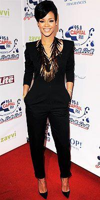black pant suit with statement neck piece. #rihanna