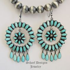 Artist Signed Emma Lincoln Campitos Turquoise Large Circle Wire Earrings   Schaef Designs    New Mexico